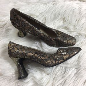 J Renee Beautiful Lace Sparkly Square Toe Heels